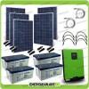 Kit solare fotovoltaico 1.4KW Inverter onda pura Edison30 3KW con regolatore di carica PWM 50A Batterie GEL