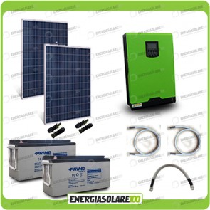Kit solare fotovoltaico 500W Inverter onda pura Edison30 3000VA 2400W PWM 50A Batterie AGM