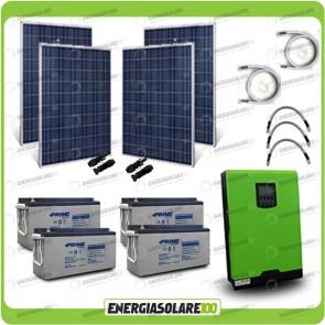 Kit solare fotovoltaico 1KW Inverter onda pura Edison50 5000VA 4000W 48V PWM 50A Batterie AGM