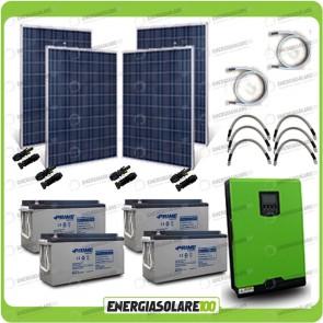 Kit solare fotovoltaico 1KW Inverter onda pura Edison30 3000VA 2400W PWM 50A Batterie AGM