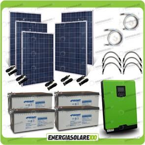 Kit solare fotovoltaico 1.2KW Inverter onda pura Edison30 3000VA 2400W PWM 50A Batterie AGM