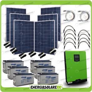 Kit solare fotovoltaico 1.5KW Inverter onda pura Edison30 3000VA 2400W PWM 50A Batterie AGM