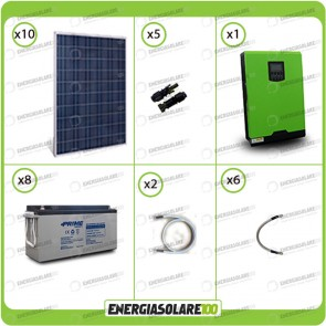 Kit solare fotovoltaico 2.5KW Inverter onda pura Edison50 5000VA 4000W 48V PWM 50A Batterie AGM