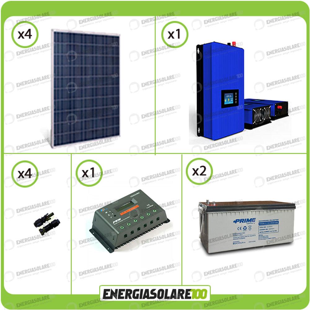Pannello Solare Con Inverter Integrato : Kit solare kw inverter grid tie batterie ah agm