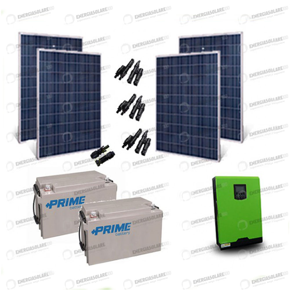 kit solaire photovoltaique panneaux 1kw convertisseur pur sinus 2 4kw 220v 24v b ebay. Black Bedroom Furniture Sets. Home Design Ideas