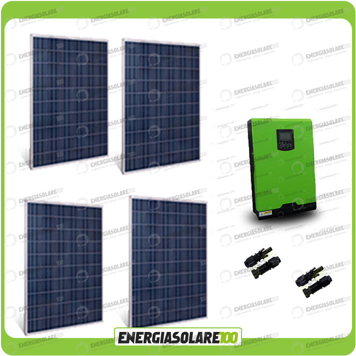 kit solaire photovoltaique maison 1kw panneau convertisseur pur sinus 4000w 48v ebay. Black Bedroom Furniture Sets. Home Design Ideas