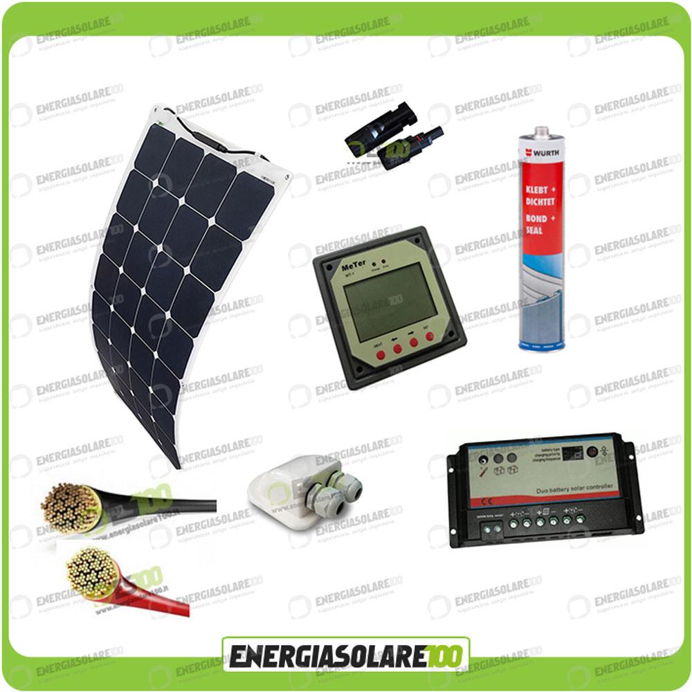 Kit Pannello Solare 100w : Kit camper pannello solare mono semifessibile w etfe