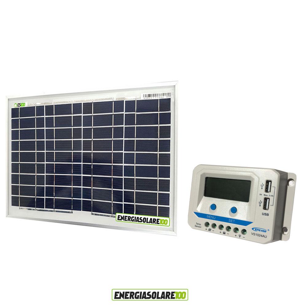 kit solaire photovoltaique 12v panneau 10w r gulateur de charge 10a usb ebay. Black Bedroom Furniture Sets. Home Design Ideas