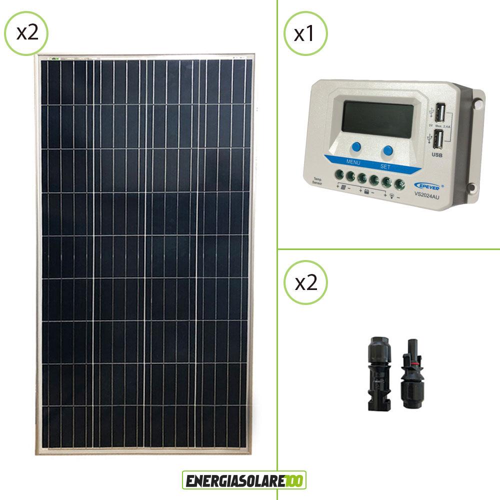 kit panneau solaire photovoltaique 24v 300w r gulateur de. Black Bedroom Furniture Sets. Home Design Ideas