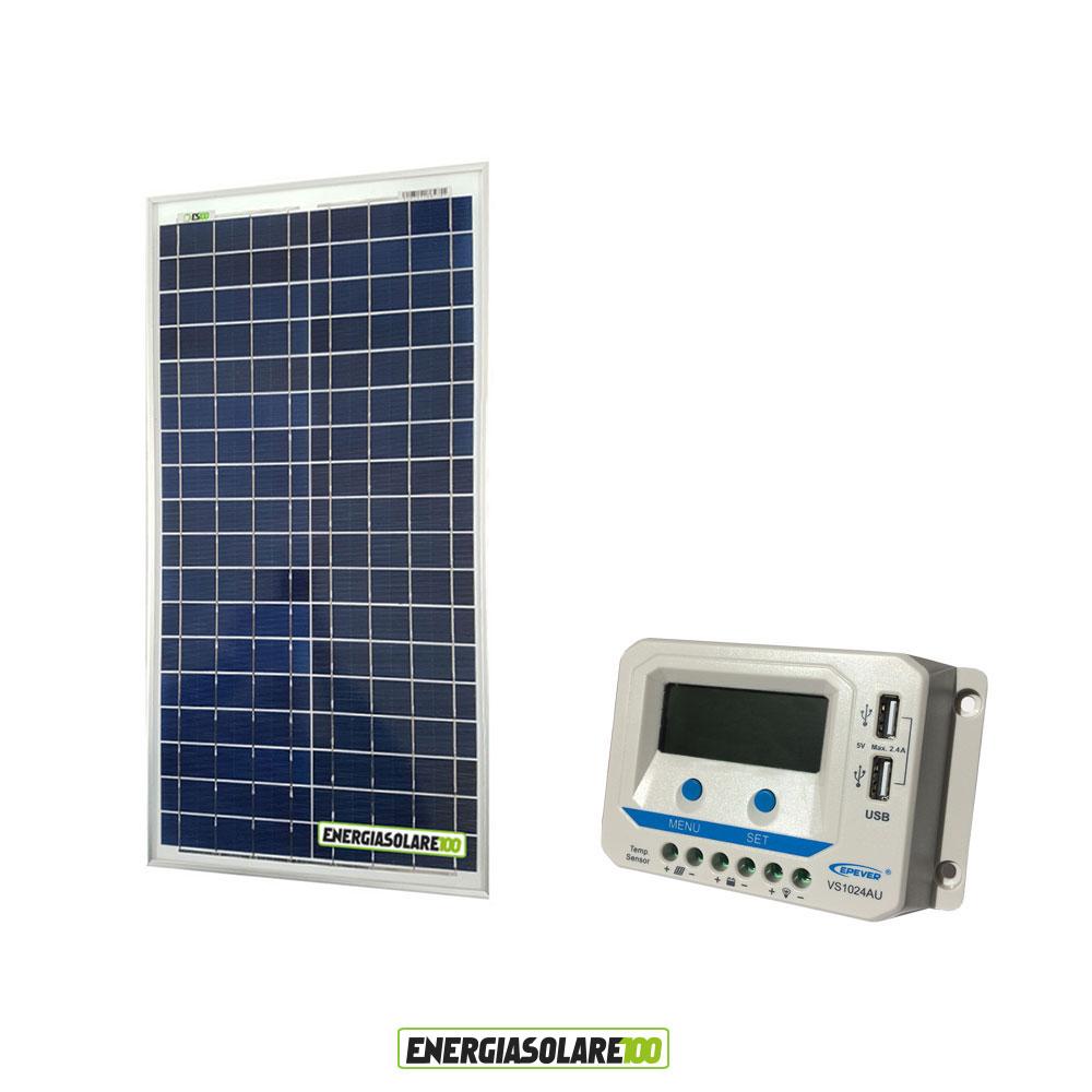 Valvola Pannello Solare Usb : Kit solare pannello fotovoltaico w regolatore di carica