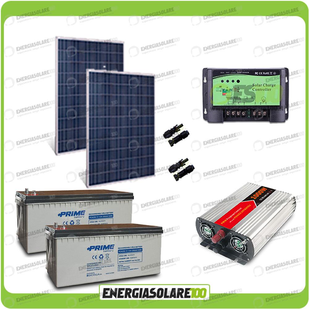 Kit Pannello Solare Batteria Inverter : Kit baita pannello solare w v inverter onda