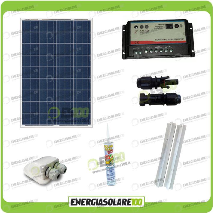 kit camping car panneau solaire 100w 12v r gulateur regduo support colle passeto ebay. Black Bedroom Furniture Sets. Home Design Ideas