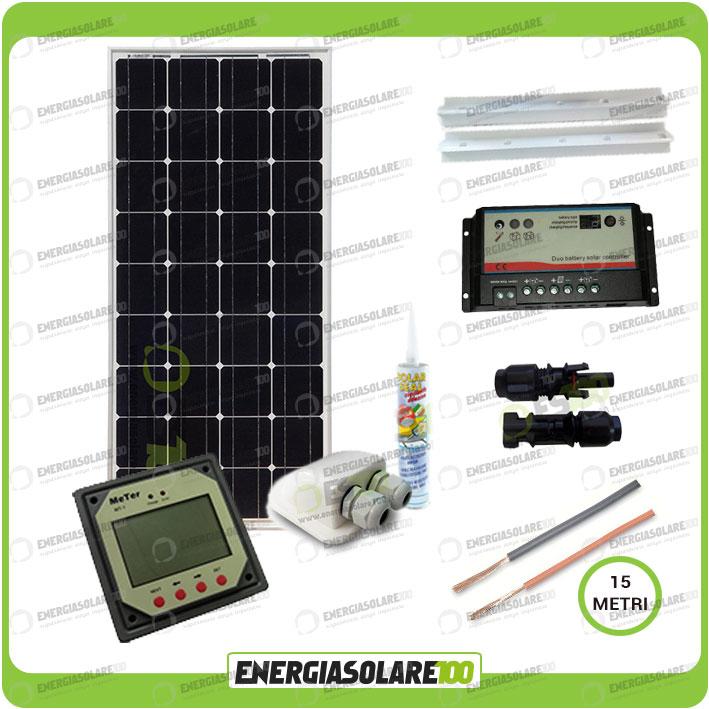 Carica Batteria Con Pannello Solare : Kit solare camper plus pannello mono w v carica