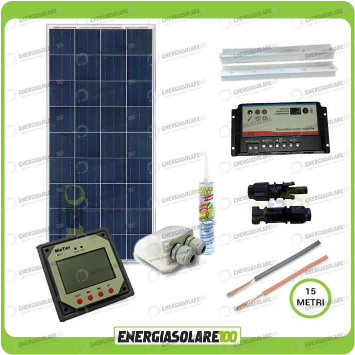 Kit Pannello Solare Camper 150w : Kit solare camper plus pannello poli w v carica