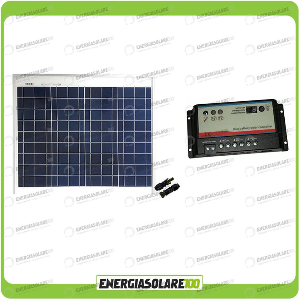 kit camping car panneau solaire 50w 12v r gulateur regduo 2 batteries ebay. Black Bedroom Furniture Sets. Home Design Ideas