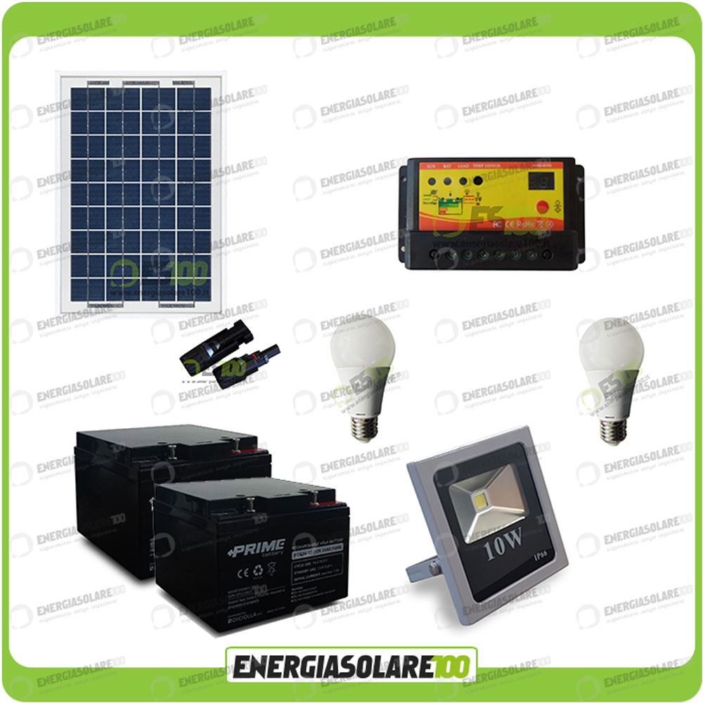 kit clairage solaire photovoltaique panneau 50w projecteur led 10w ampoules 8 h ebay. Black Bedroom Furniture Sets. Home Design Ideas