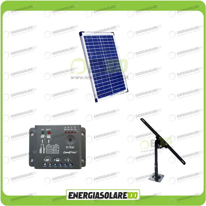 Kit Pannello Solare Con Regolatore Di Carica : Kit pannello solare w regolatore di carica supporto