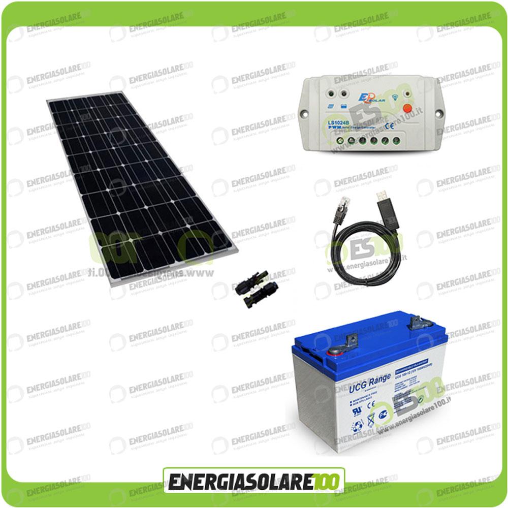 kit panneau solaire mono 100w 12v r gulateur 10a batterie gel 100ah cable rs485 ebay. Black Bedroom Furniture Sets. Home Design Ideas
