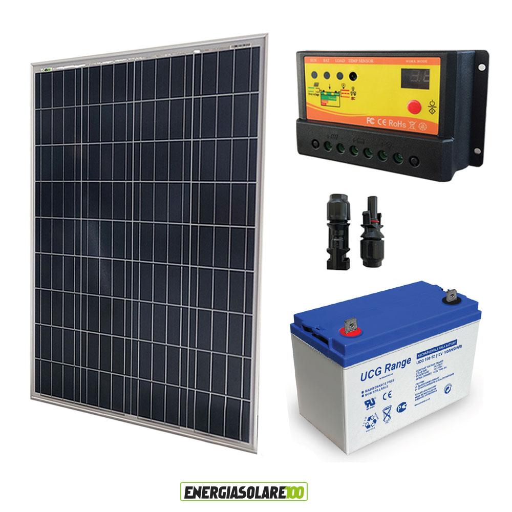 kit panneau solaire 100w 12v r gulateur 10a 12v pwm nv batterie gel 100ah ebay. Black Bedroom Furniture Sets. Home Design Ideas