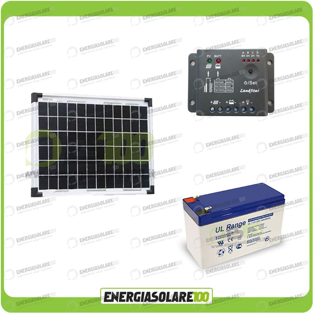 kit panneau solaire poly 10w 12v batterie 7ah agm. Black Bedroom Furniture Sets. Home Design Ideas