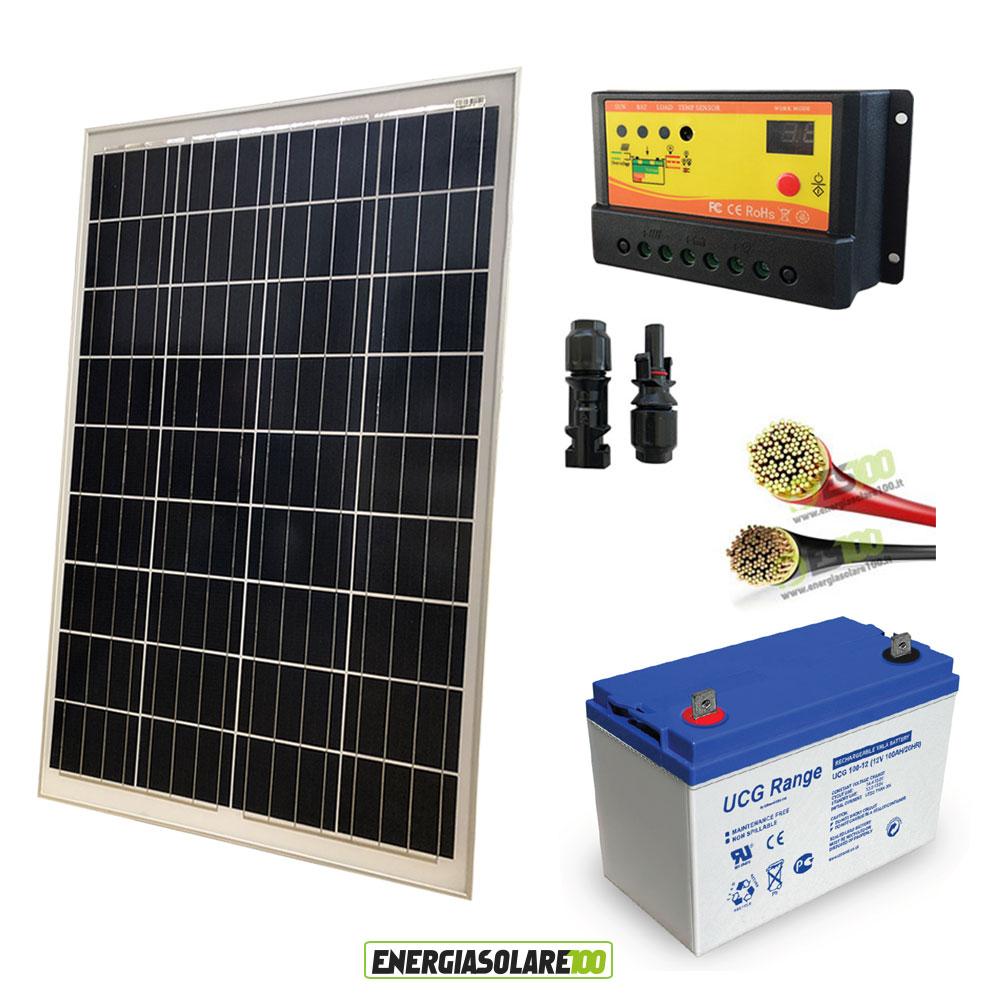kit panneau solaire 100w 12v batterie gel 100ah jardin. Black Bedroom Furniture Sets. Home Design Ideas