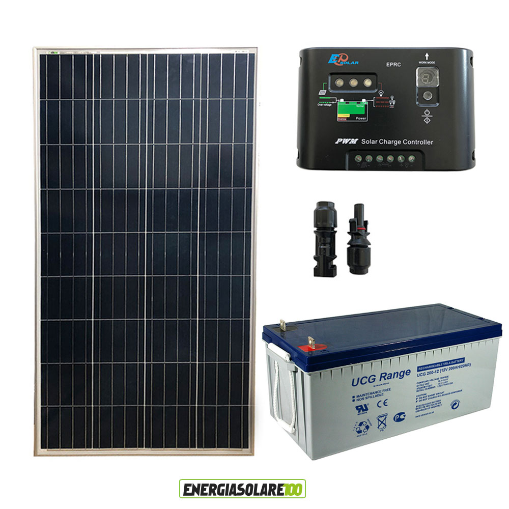kit panneau solaire 150w 12v batterie 200ah gel r gulateur de charge pwm 10a eps ebay. Black Bedroom Furniture Sets. Home Design Ideas