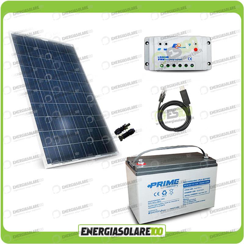 Regolatore Pannello Solare Usb : Kit solare fotovoltaico w v batteria agm ah casa