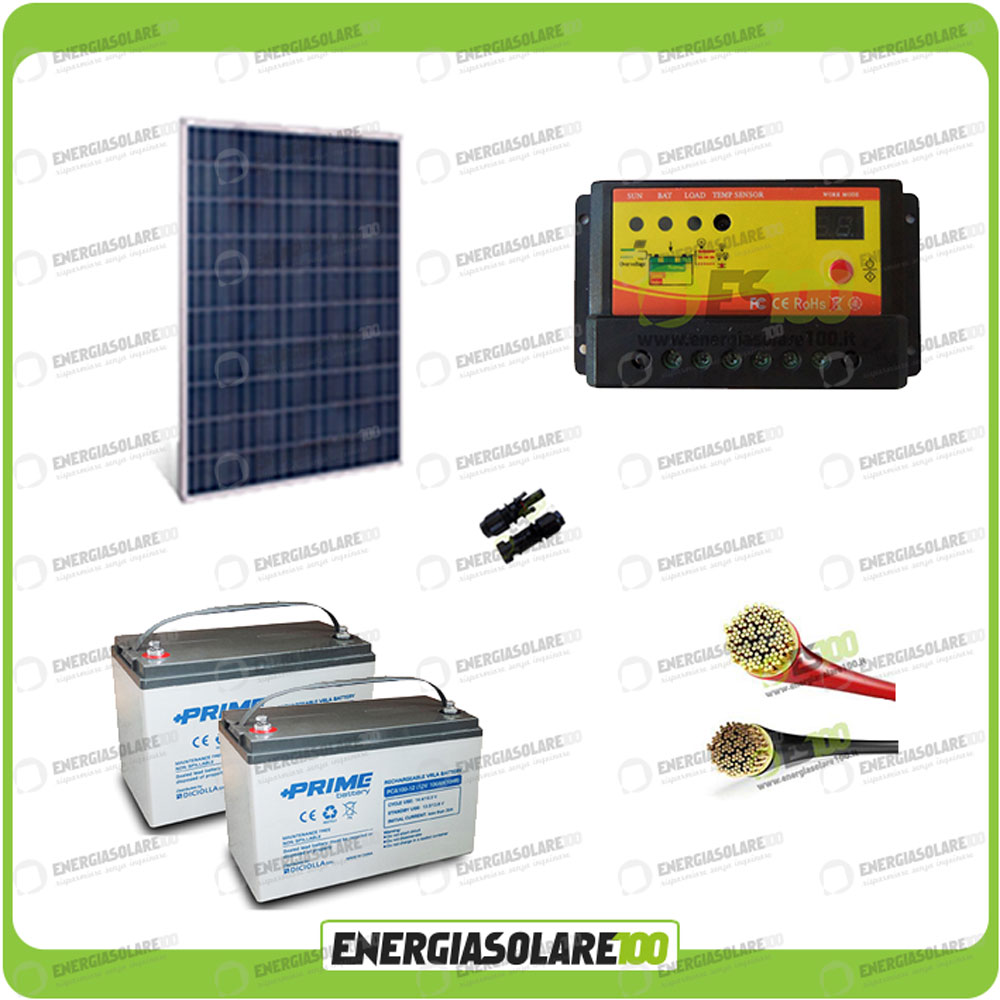 Pannello Solare Per Batteria 100 Ah : Kit pannello solare w v policristallino regolatore