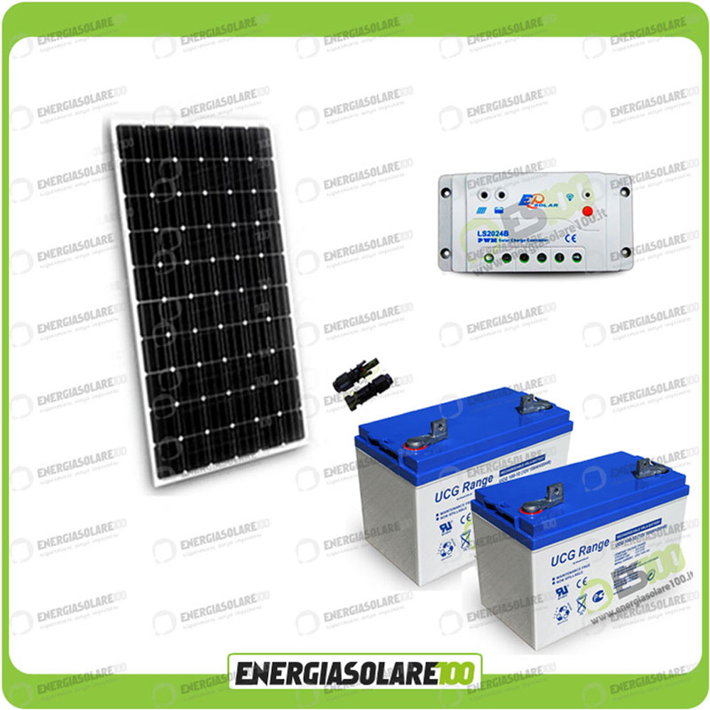 kit panneau solaire 300w 24v batterie gel 100ah r gulateur. Black Bedroom Furniture Sets. Home Design Ideas