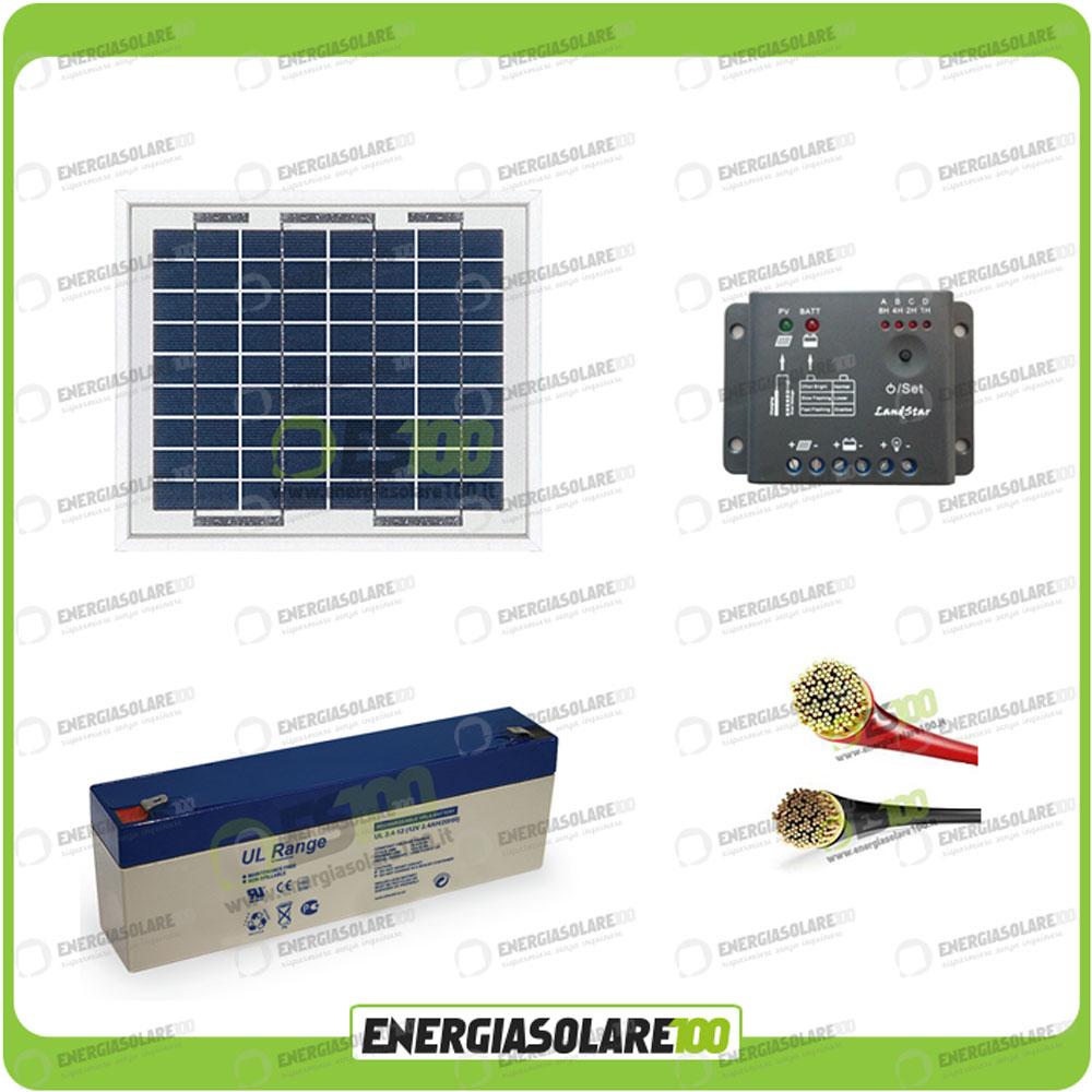 kit panneau solaire 5w 12v r gulateur pwm 5a batterie agm 2 4ah c bles ebay. Black Bedroom Furniture Sets. Home Design Ideas