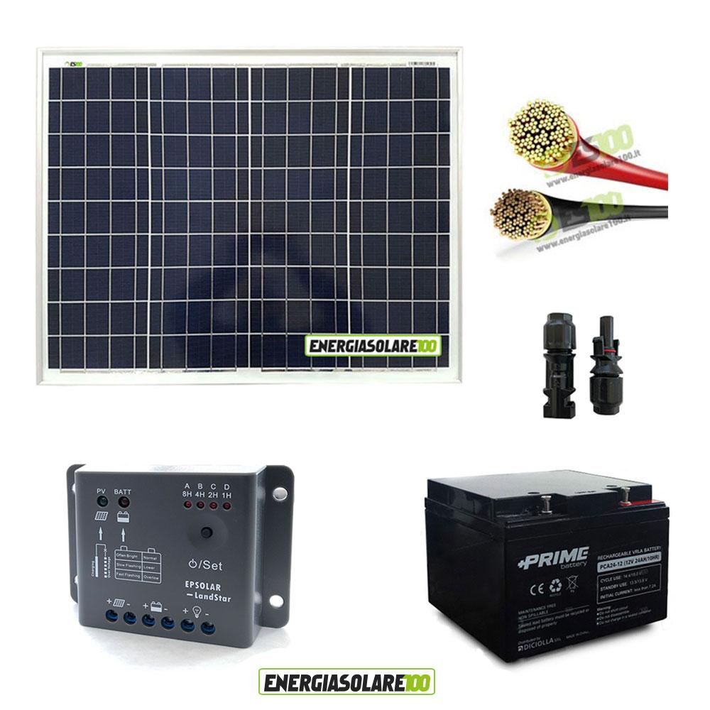 Pannello Solare Per Batteria 100 Ah : Kit fotovoltaico con pannello solare da w v batteria