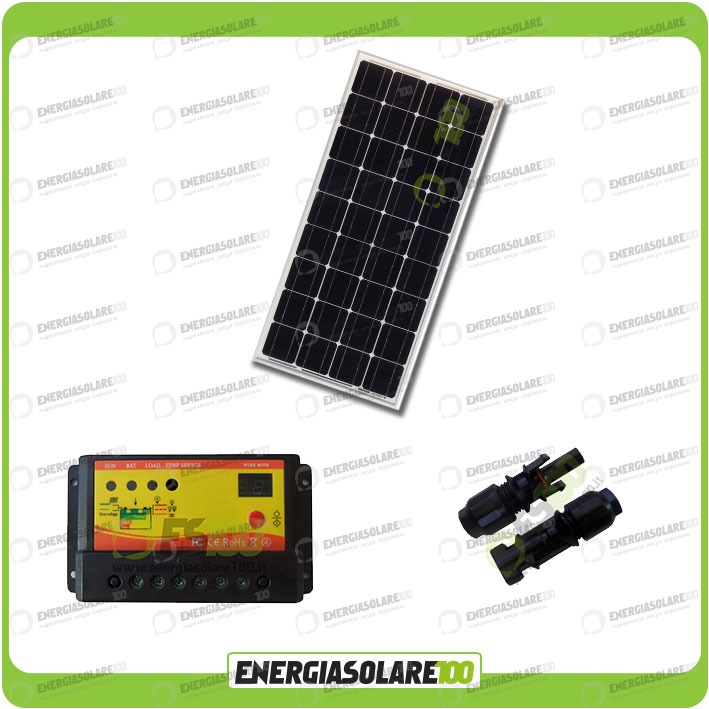 Kit Pannello Solare 100w : Kit pannello solare fotovoltaico w v monocristallino