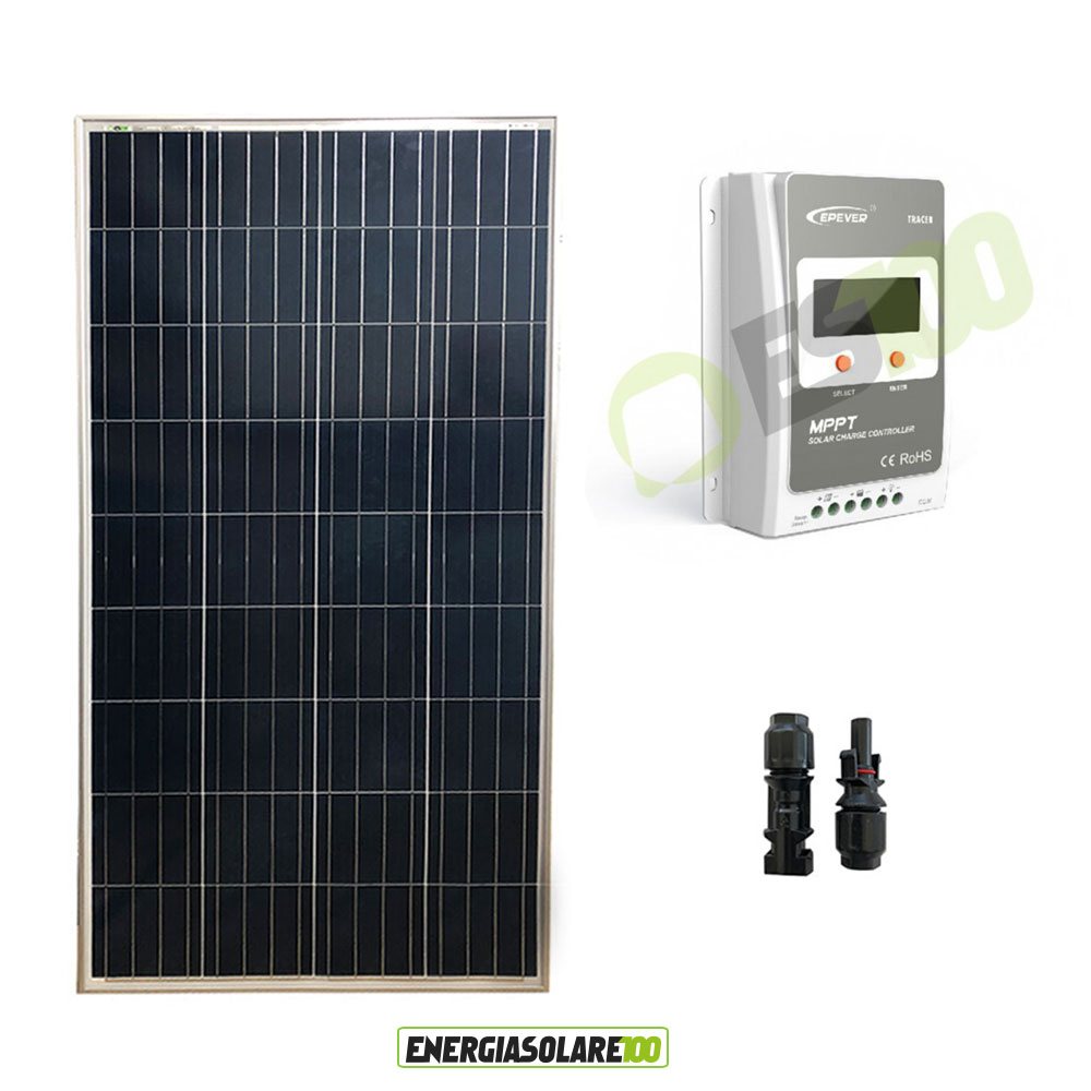 kit solaire panneau solaire 100w 12v polycristallin. Black Bedroom Furniture Sets. Home Design Ideas