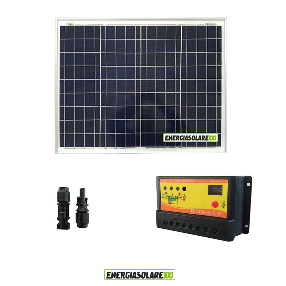kit panneau solaire polycristallin 50w 12v r gulateur de. Black Bedroom Furniture Sets. Home Design Ideas