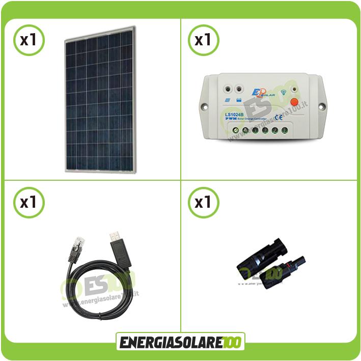 Valvola Pannello Solare Usb : Kit pannello solare fotovoltaico w v regolatore pwm